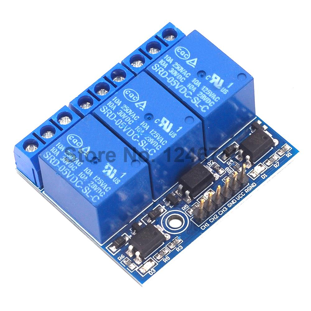 3 Channel Relay Module With Optocoupler Isolation Compatible 3.3V 5V Signal High-voltage Relay