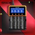 Original smok lcd carregador inteligente portátil smart 18650 li-fepo4 charger li-ion ni-mh ni-cd bateria cigarro eletrônico