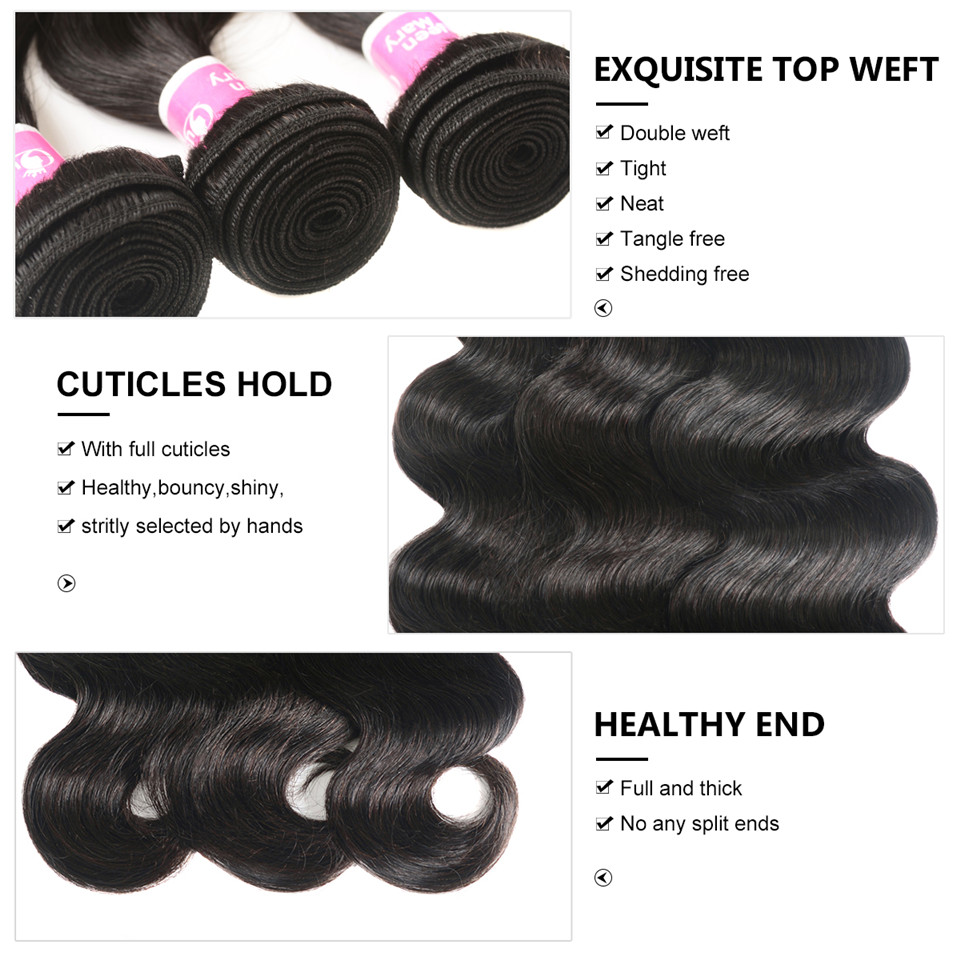 Peruvian Body Wave 100% Human Hair Bundles Queen Mary Non-Remy Hair Weaving Natural Color 1/3/4 Bundles Deal Shipping Free