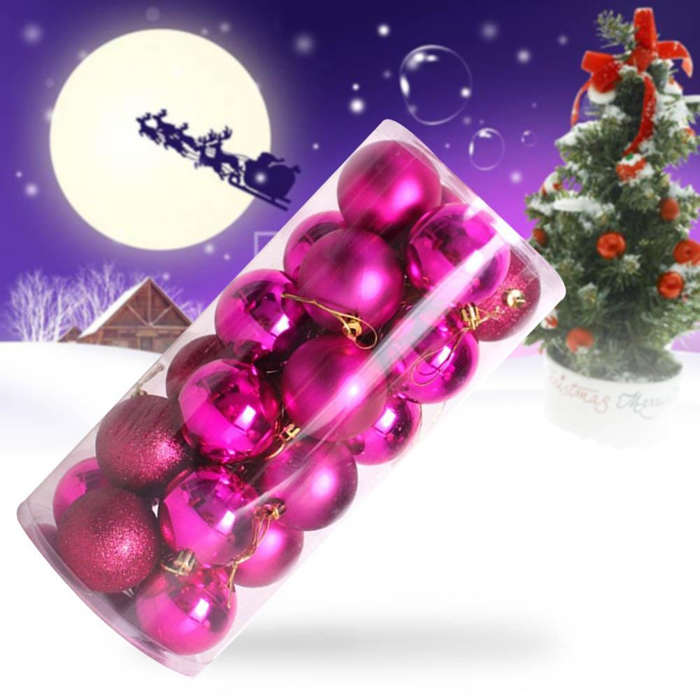 Hot pink christmas decorations - 24pcs Christmas Tree Colourful Balls Baubles Xmas Party Decorations Home Hanging Ornament 4cm Plastic Bright Balls