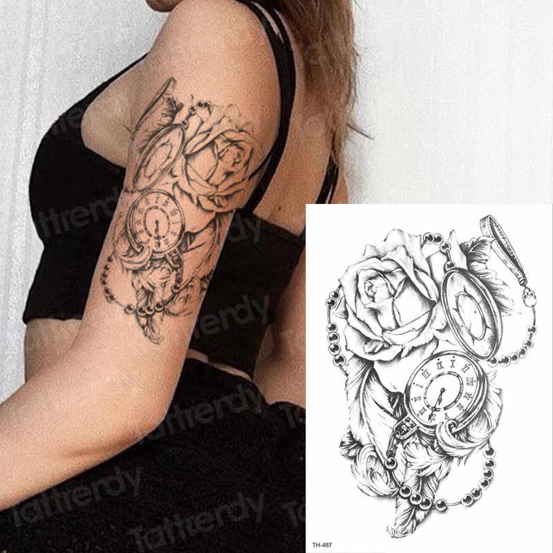 d25171c90 ... temporary tattoo sleeves rose cross sticker tatoo halloween tattoo decal  water tatto compass black fake tattoos ...