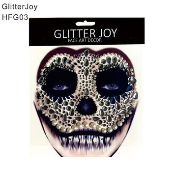 HFG03 1Pc czaszka makijaż inspirowane strona twarz klejnot naklejki wystrój malowania ciała na ubieranie karnawałowe prezent świąteczny tanie i dobre opinie GlitterJoy Gem and Glue 1 piece Farba ciała