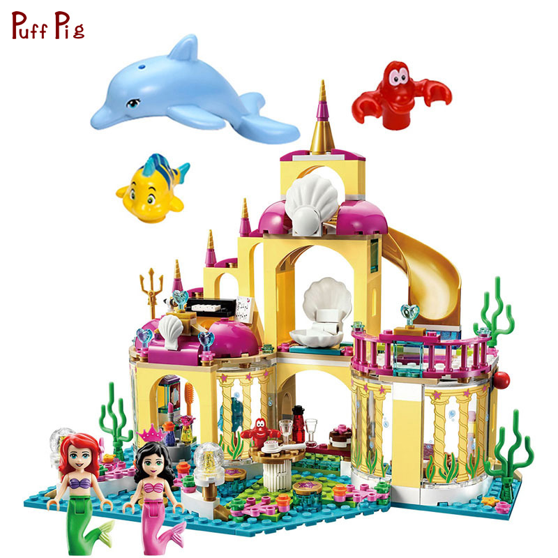 Princess Elsa Undersea Palace Castle Building Blocks Mermaid Figures Toys For Children Compatible Legoed Friends Girls Bricks lepin diy girl friends series the undersea palace set castle building blocks bricks toys for children compatible with legoingly