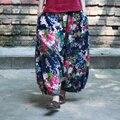 Las mujeres del Otoño Patrón de Flor de Impresión de algodón de Lino Retro Nepal Elasic Cintura Capris Pantalones Harén Pantalones Pantalones Harem de La Vendimia Floral