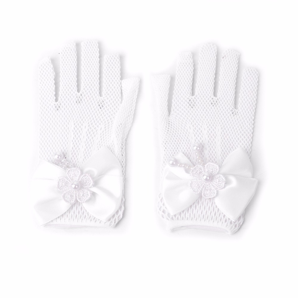 Girls Gloves Princess Mesh Dress Accessories Hollow Bow Knot Prom For Kids Bride