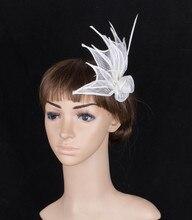 Niza headwear fascinator sinamay con plumas adornado evento ocasión partido boda celada de novia horquillas accesorios para el cabello