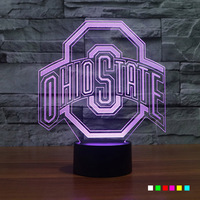 OHIO STATES 3D Lamp Luminaria LED Night Light Football Cap USB Powered 7 Colors Change Sleep