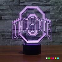 OHIO STATES 3D Lamp Luminaria LED Night Light Football Cap USB Powered 7 Colors Change Sleep