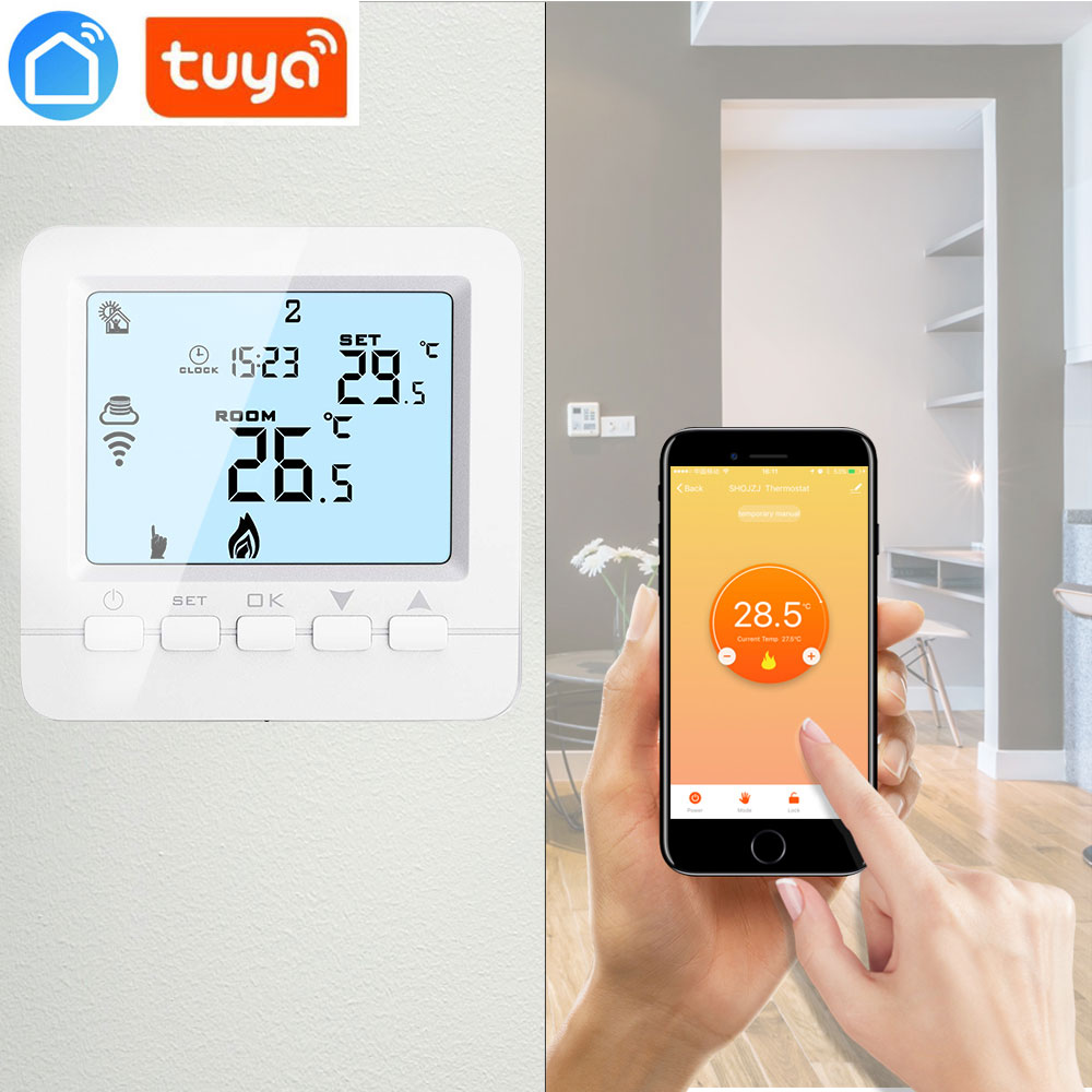Button WiFi Programmable Thermostat Echo Alexa Voice Control Room Temperature Control Floor Heating Water 3A 100-240V Tuya