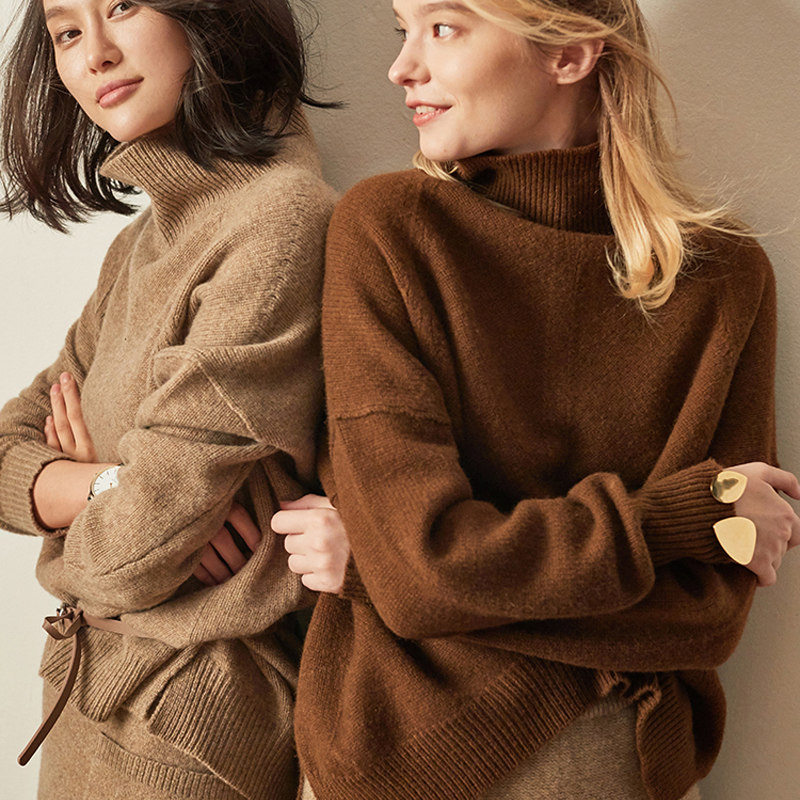 BELIARST Autumn and Winter New Cashmere Sweater Women's High Necked Pullover Loose Thick Sweater Short Paragraph Knit Shirt