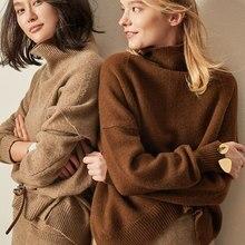 BELIARST סתיו וחורף חדש קשמיר סוודר נשים של סוודר צווארון גבוהים רופף עבה סוודר קצר סעיף לסרוג חולצה