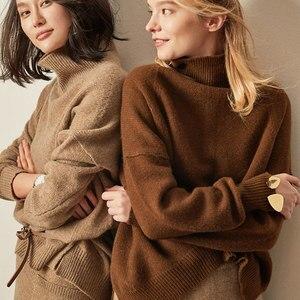 Image 1 - BELIARST סתיו וחורף חדש קשמיר סוודר נשים של סוודר צווארון גבוהים רופף עבה סוודר קצר סעיף לסרוג חולצה