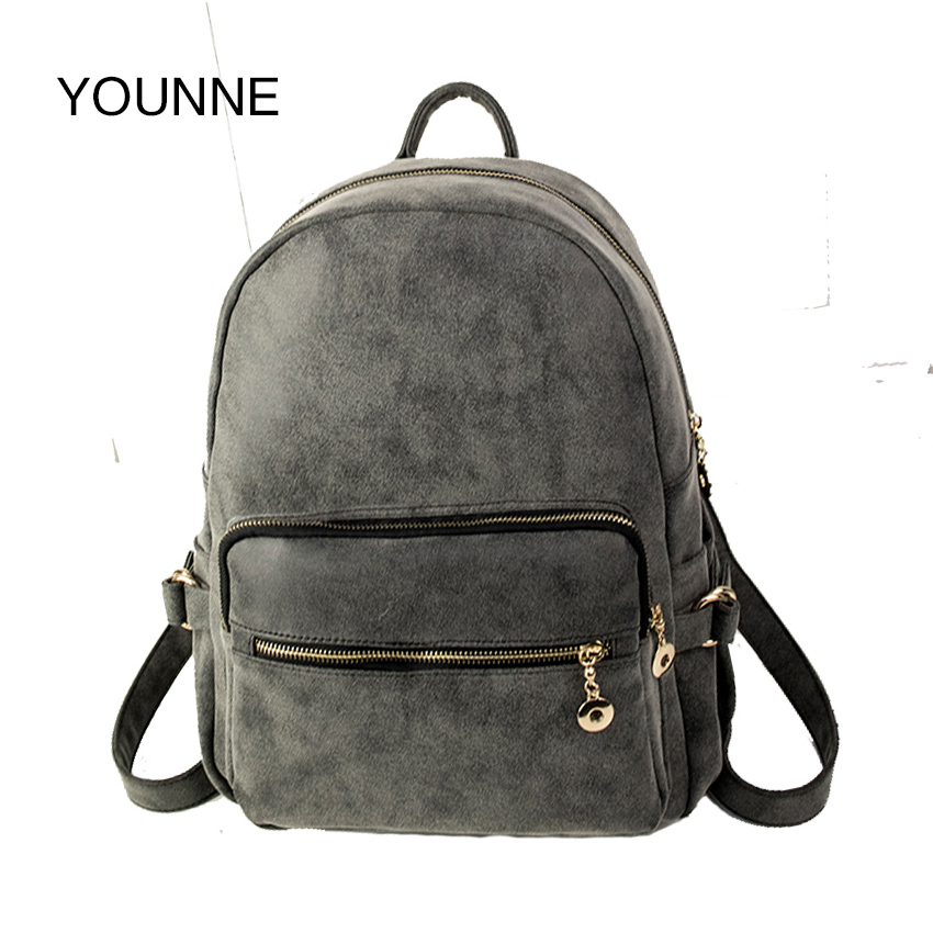 YOUNNE Vintage Backpack Women Stylish Backpacks High Quality PU Leather Travel Bags for Girls Designer Zipped Shopping Bag 2018