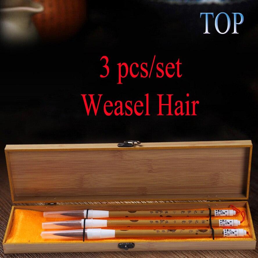 3 pièces/ensemble chinois calligraphie brosses belette brosse à cheveux pour artiste couleur de l'eau peinture calligraphie Art offre meilleur cadeau