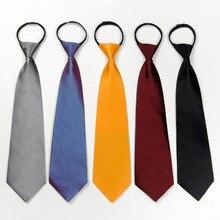 E Zipper Tie 8cm Lazy Short Men Suit Business Wide Black Red Necktie Neckcloth Neckwear Performance Party Gravata Gift