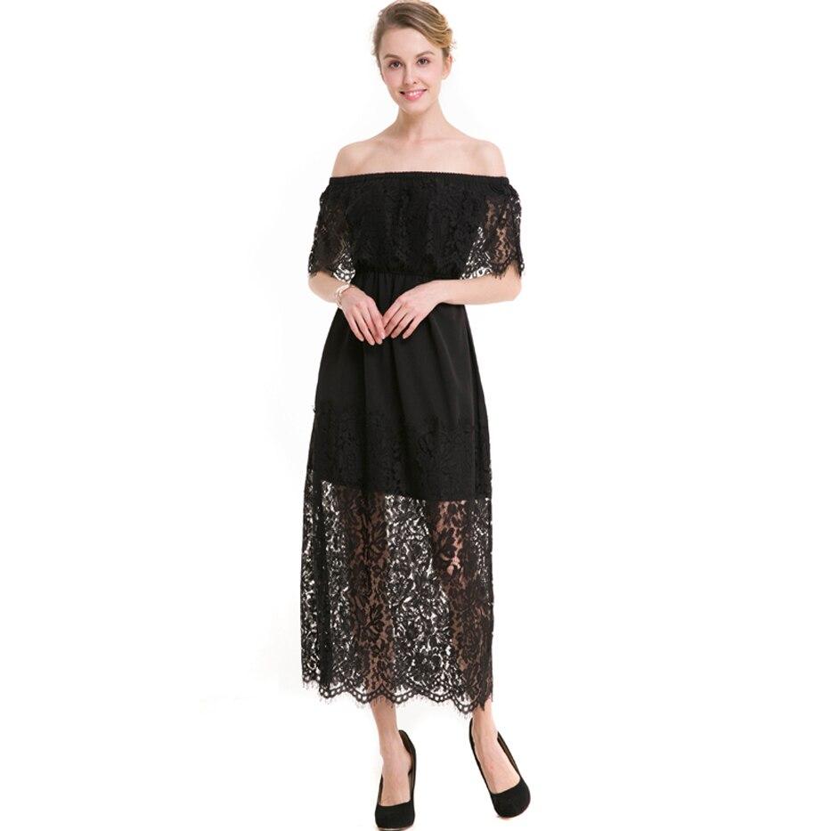 New Women lace dress 2017 off the shoulder slash neck hollow backless patchwork party dresses elegant vestidos plus size