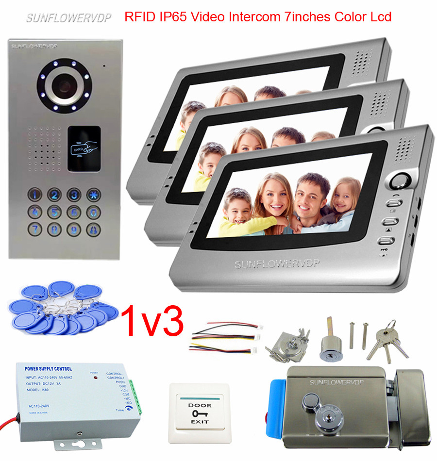 цены For 3 Apartments Video Door Phone Intercom System Doorbell IP65 Waterproof Videophone 7