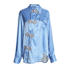 Chinese style womens stripe Shirts New 2019 spring elegant vintage A212