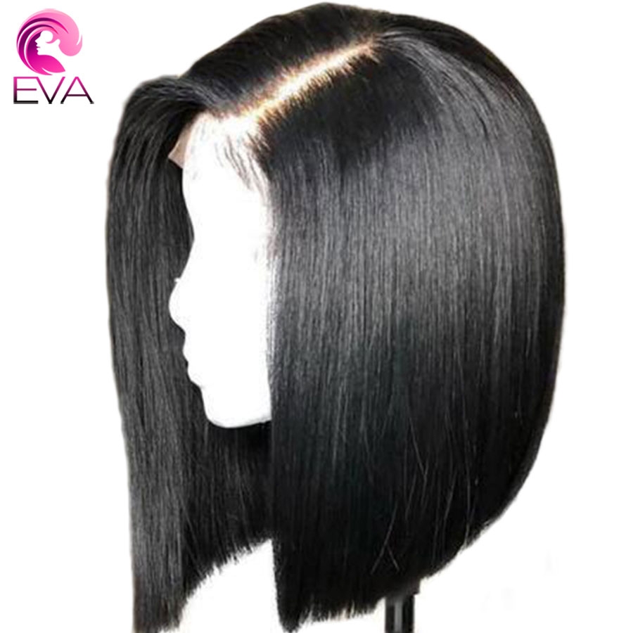 Wigs Human-Hair Glueless Straight Full-Lace Brazilian Black-Women Eva with Short Bob