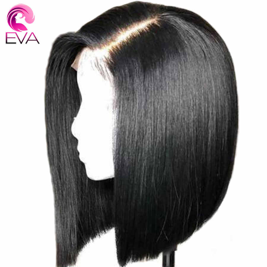 Eva Glueless Full Lace Human Hair Wigs Pre Plucked With Baby Hair Short Bob Straight Brazilian Remy Hair Wigs For Black Women