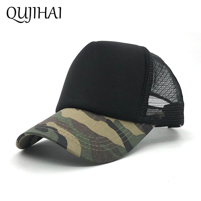 QUJIHAI Cotton Army   Baseball     Cap   Camouflage Mesh Hat   Cap   For Men Women Composite Material   Cap   Casual Sports Gorras Dad Hats
