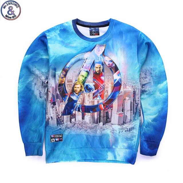 Mr.1991 бренд молодежный бренд 3D Мстители печатных толстовки мальчики подростки Весна Осень тонкие кофты большие дети W9