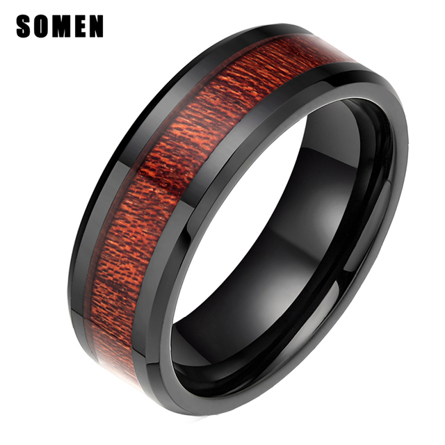 8mm Brand Luxury Men S Black Ceramic Ring Mahogany Wood Inlay Male Wedding Band Engagement Rings For