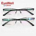 Dos homens óculos de moda quadro miopia quadro half-quadro personalizado de metal prescrição óptica óculos 9259