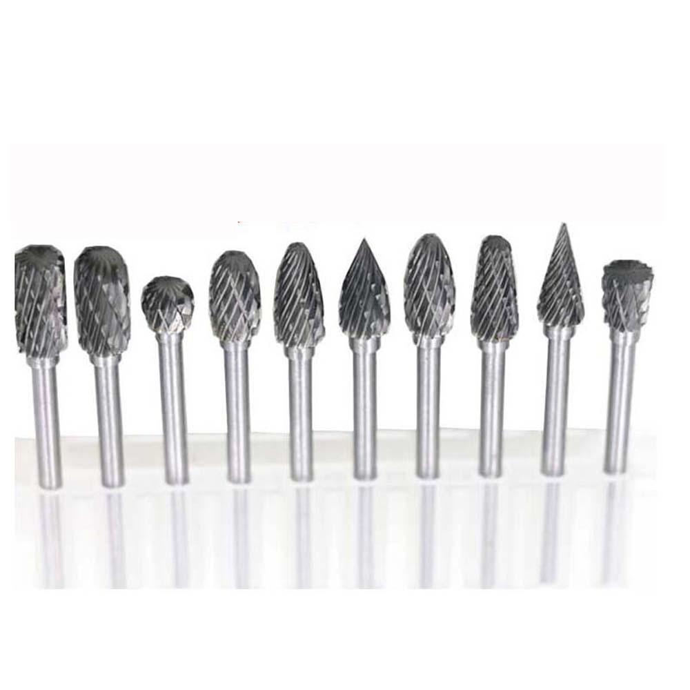 """1/8 """"koto volframo karbido frezavimo pjovimo staklės Rotary Tool Burr Double Diamond Cut Rotary Dremel Tools elektrinis šlifavimas"""