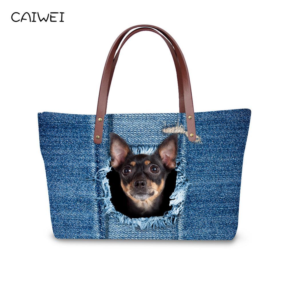 Luxury Handbags Women Bags Designer Blue Jean Handbag Top Quality Women Messenger Bags Cute Animal Cat Bolsas Large Travel Bags in Top Handle Bags from Luggage Bags