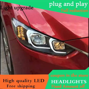 Car Styling Head Lamp For Mazda 6 Atenza Headlights 2014 - 2016 LED Headlight Double C Angel Eye DRL Bi Xenon Lens High Low Beam