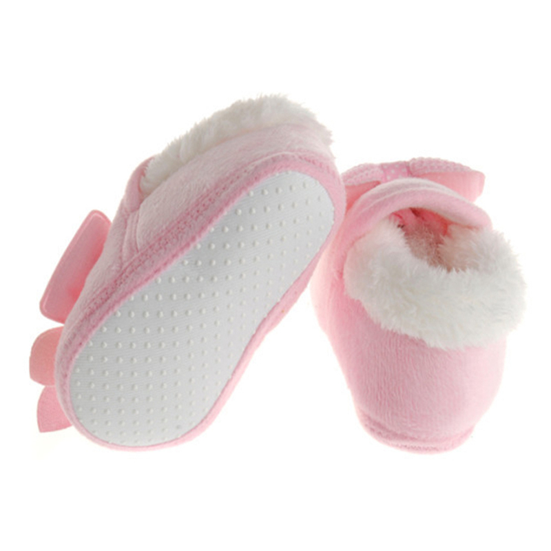 Baby Shoes Girls Cute Newborn Infant Winter Warm Bow Baby Soft Bottom First Walker Boys Cotton Crib Moccasins Baby Shoes Winter