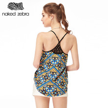 Naked Zebra Tank Tops Women Summer Print Flower Comfortable Chiffon Hollow Out Vest Loose Polyester Backless Female Tank Tops