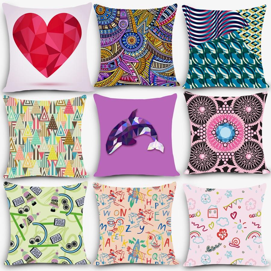 Cheap car seat linen throw pillow Nordic Vintage pattern