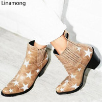 Fashion Western Women Mixed Color Stars Patchwork Women Ankle Boots Cowboy Style Laides Point Toe Boots Slip On Female Boots