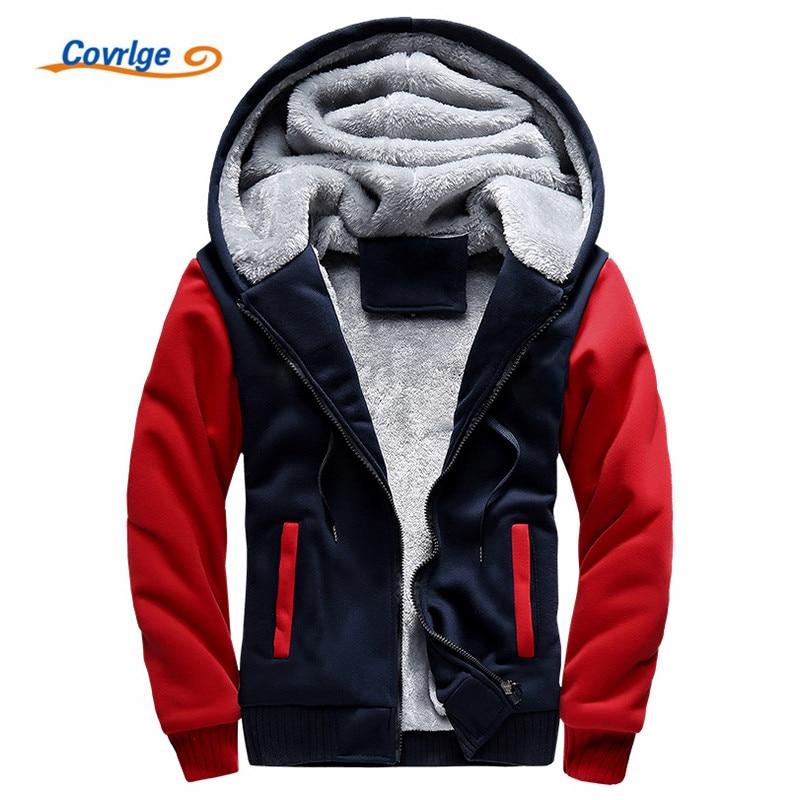 Covrlge Men New Brand Winter Thick Warm Fleece Zipper Coat for Mens Fashion SportWear Tracksuit Male European Hoodies MWW141