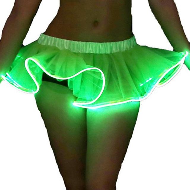 MOONIGHT Ruffles Elástico de Tulle del vestido de Bola Del Tutú Mini Faldas Solid Jupe Faldas de Baile De Luz LED Colorido Mini Falda