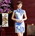Free shipping cheongsam vintage Blue and white porcelain Qipao Cheongsam Dress Chinese traditional dress Oriental dresses S-2XL
