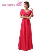 d1a1f9071716 Lungo rosso nero di colore rosa caldo del manicotto della protezione  vestido damigella d onore delle donne di autunno del vestit.