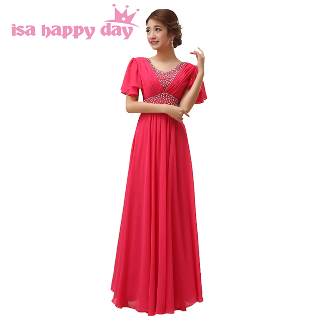 US $42.37 5% OFF|long black red hot pink cap sleeve vestido bridesmaid  women fall party dress plus size of the bride bridesmaids dresses H2258-in  ...