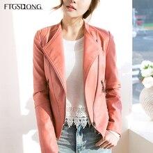 FTGSDLONG 2019 Spring Autumn Casual Faux Leather Jacket Korean Fashion Zipper Pu Coat Long Sleeve Short Slim Motorcycle Coats