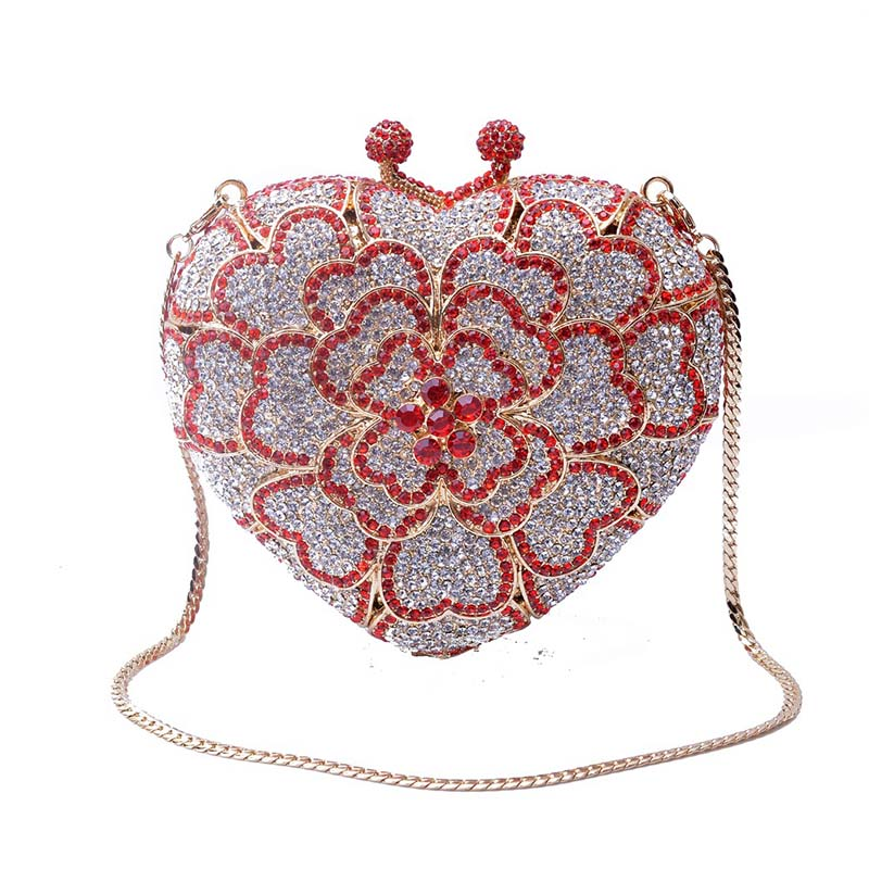 Hollow Out Heart Clover Shape Women Red Crystal Evening Bags Clutches Bridal Diamonds Wedding Clutch Handbags Party Purse New
