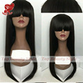 New Top Fashion Silky Straight Wigs With Full Bangs Black Color Synthetic Lace Front Wigs Glueless Hair Wig For Black Women
