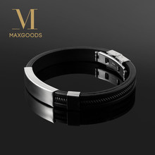 New Fashion Wristband black Punk Rubber Silicone Stainless Steel Men Bracelets Bangles pulseras hombre caucho(China)