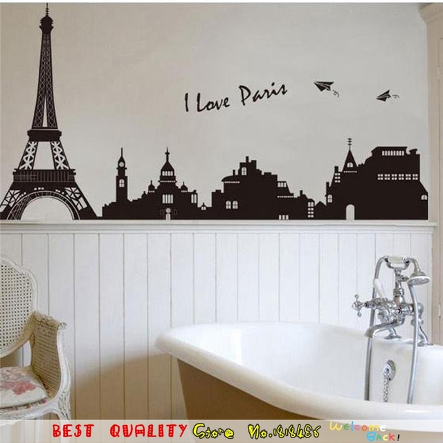 I Love Paris Eiffel Tower Wall Stickers Big City Night Wall Decals Bedrooms  Office Home Decorations Part 43