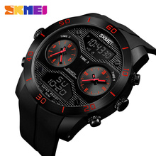 SKMEI 3 Time Display Men Digital Quartz Outdoor Watch Male Clock Wristwatches Relogio Masculino Waterproof Swimming Watches 1355