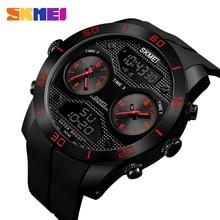 SKMEI, reloj de cuarzo Digital para hombre con 3 pantallas de tiempo, relojes de pulsera para hombre, relojes de natación impermeables 1355