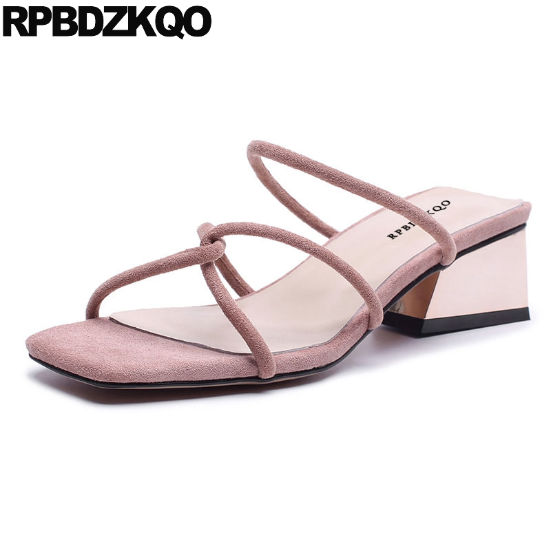Fashion Strappy Thick Square Suede Block Shoes Strap Open Toe Slides Low Heel Pink Women Sandals 2018 Summer Comfortable Ladies summer open toe women suede buckle strap sandals comfortable thick heel party the new dress shoes pink beige black
