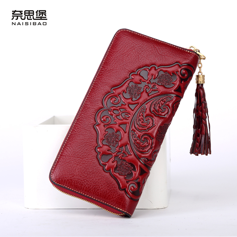 Chinese style Genuine Leather women Clutch Wallet fashion pattern cards holders brand womens wallets and purses free shipping свитшот diesel diesel di303emrxx18
