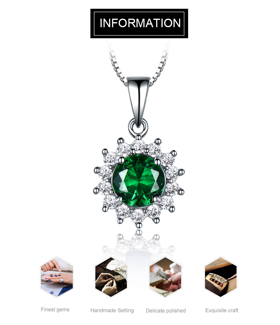UMCHO Emerald sterling silver necklace pendant for women NUJ032E-1-PC (1)